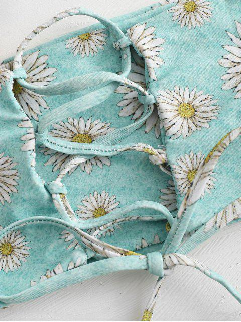 new Daisy Lace Up Bandeau Bikini Set - BLUE GREEN L Mobile