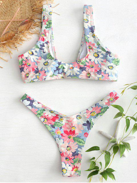 hot Floral Knotted Cheeky Bikini Set - MULTI M Mobile