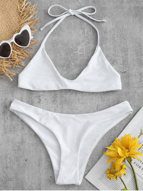 trendy Halter Bralette Bathing Suit - WHITE M Mobile
