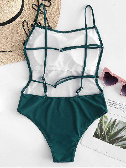 ladies High Waisted Caged Backless Swimsuit - MEDIUM SEA GREEN XL Mobile