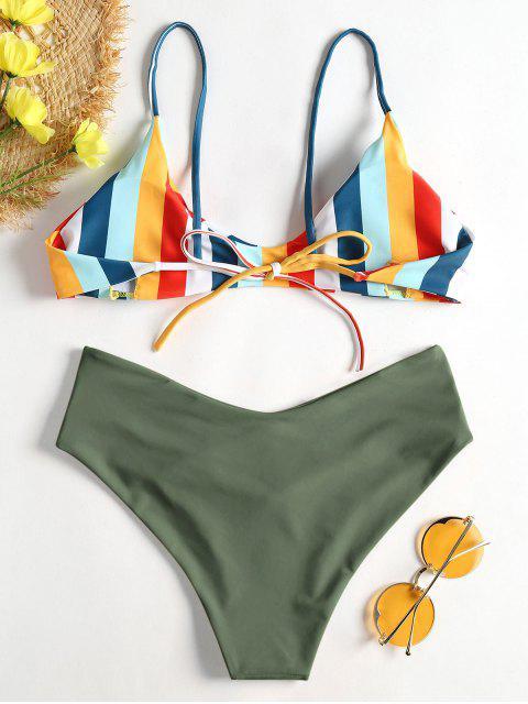 new Striped High Leg Cami Bikini - HAZEL GREEN L Mobile