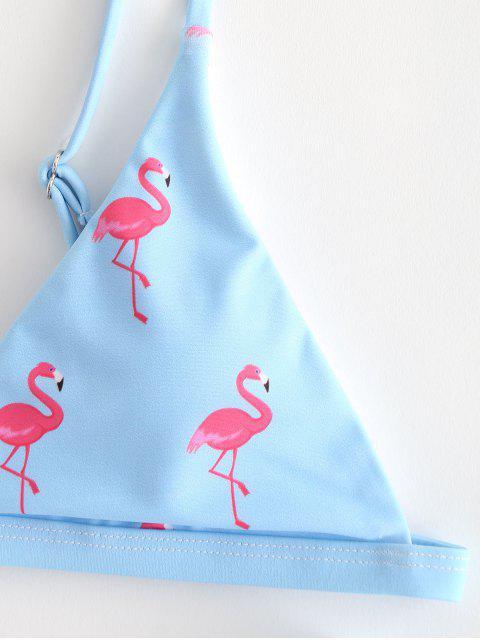 trendy ZAFUL High Cut Flamingo Bikini - LIGHT SKY BLUE L Mobile
