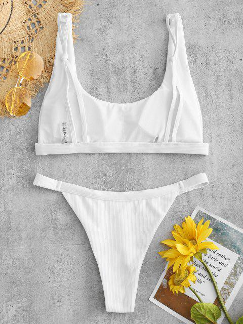 sale Ribbed High Leg Padded Bikini Set - WHITE M Mobile