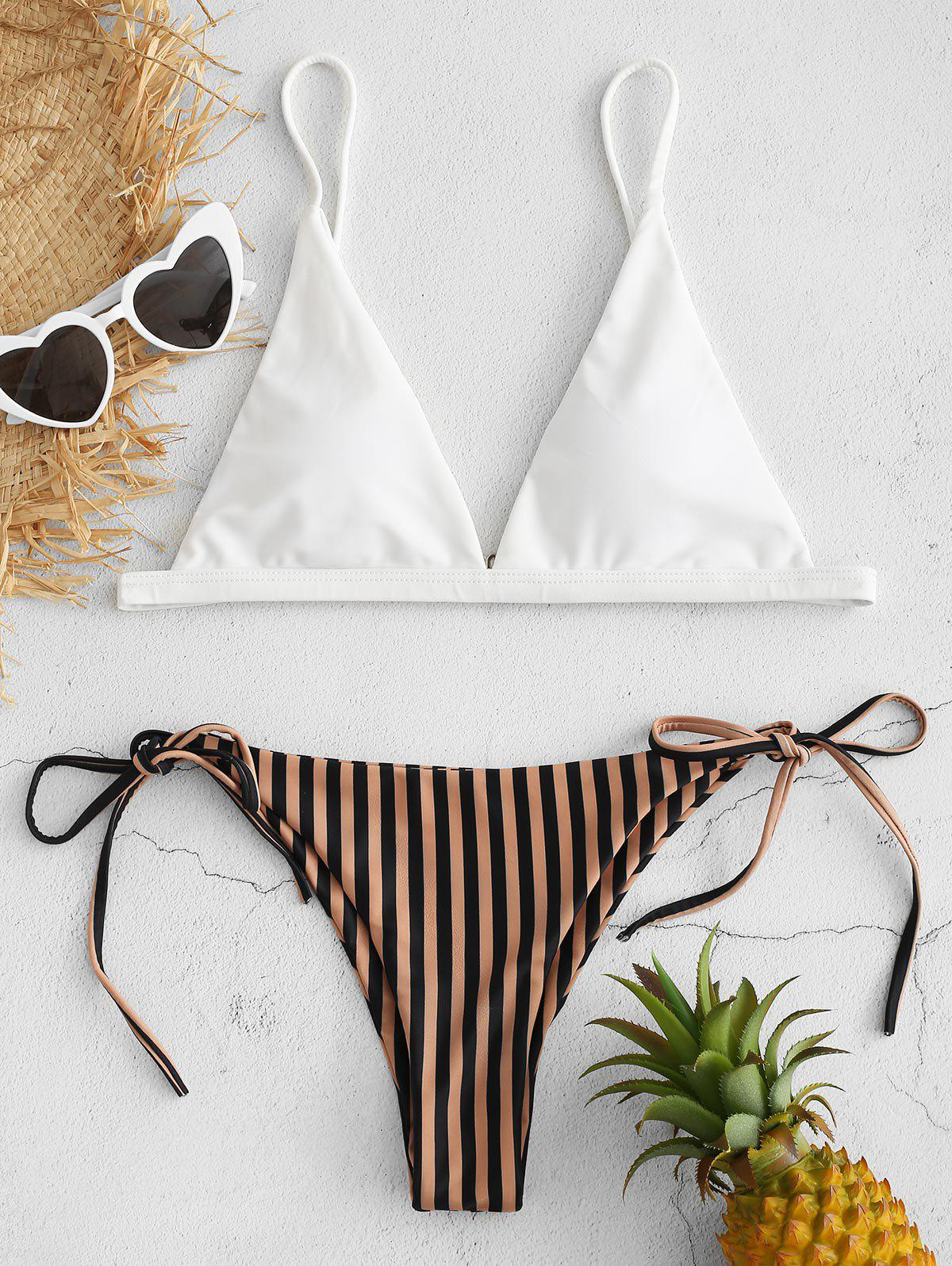 Striped Tie Side Bikini Set, Camel brown