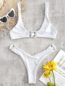 كريسس كروس صفيق Bralette بيكيني مجموعة - أبيض M