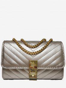 حقيبة كروس على شكل سلسلة V - الشمبانيا الذهب أفقي