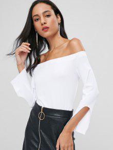 Slit Sleeve Off Shoulder Top - Blanco S