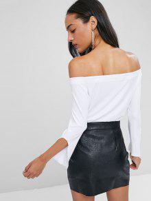 Top Off Blanco Slit S Shoulder Sleeve 8x1wtxq4B
