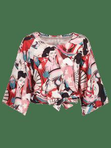Kimino Con Multicolor Blusa Manga Belleza De Estampado S qIn8paB8w