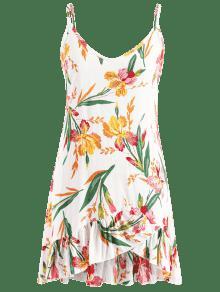 M De Vestido Mini Florales Volantes Blanco ZYnHq