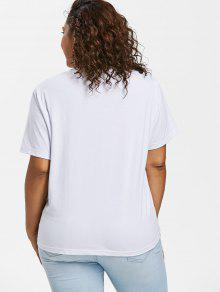 Size 5x Rayas Blanco Rayas Plus Con Camiseta F6xTqFP