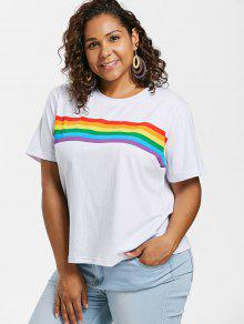 becfdde72b8df3 28% OFF] 2019 Plus Size Rainbow Striped Tee In WHITE | ZAFUL