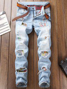 جينز بنمط ممزق من Ripped Hole - أزرق فاتح 38