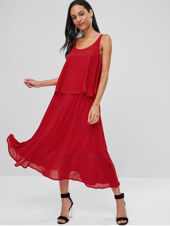 affordable Criss Cross Overlay Midi Dress - RED M