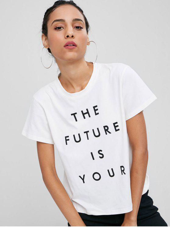 T-Shirt Con Grafica Di Lettere THE FUTURE IS YOUR - Bianca M