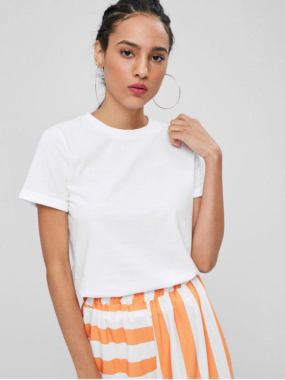 Rolled Up Sleeve Plain Tee   White S by Zaful