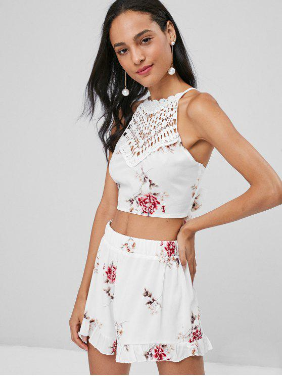 trendy Floral Crop Top and Shorts Co Ord Set - MILK WHITE L