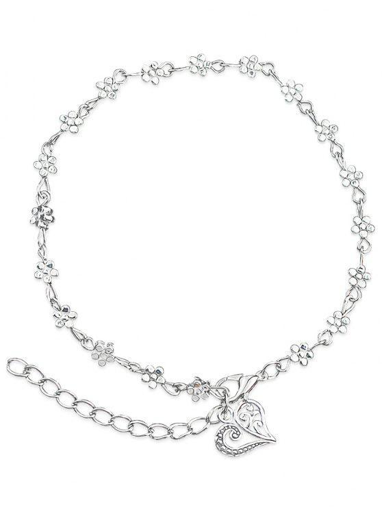 Cavigliera con motivo floreale minimalista - Argento