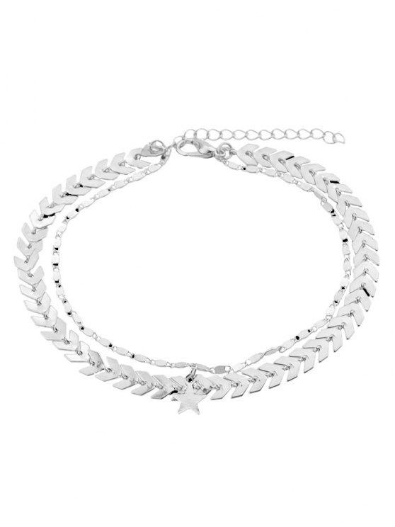 Doppelschicht Stern Kette Fußkettchen - Silber