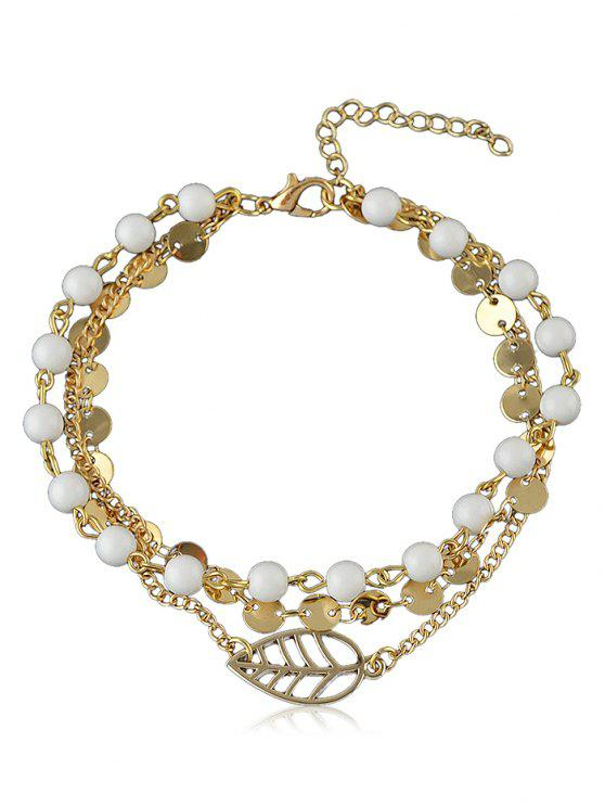 women Beaded Chain Anklet With Disc - GOLD