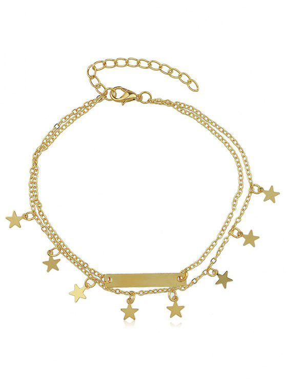 women's Layered Star Charm Anklet - GOLD