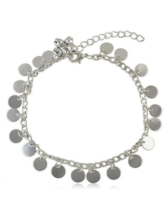 ladies Bell Sequin Chain Anklet - SILVER