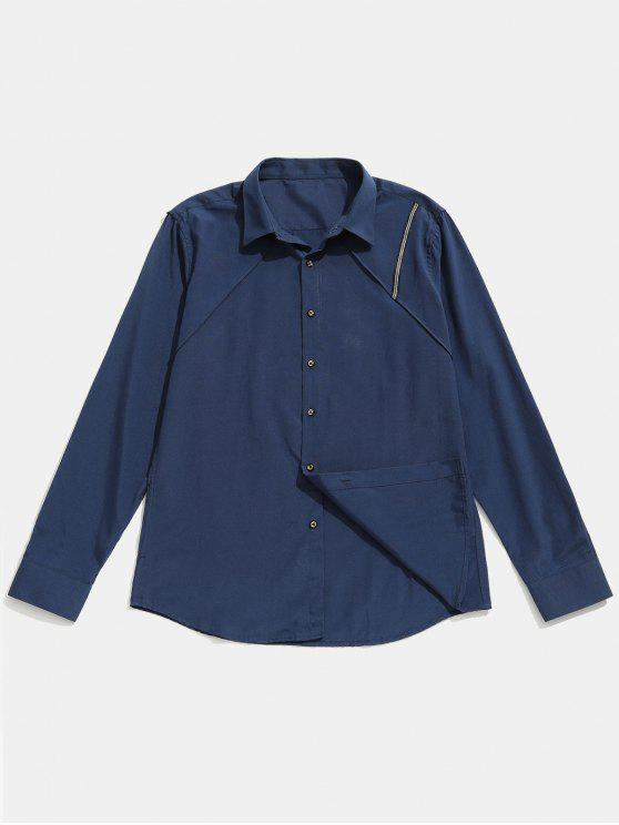 outfit Seam Detail Stripe Patched Shirt - CADETBLUE S