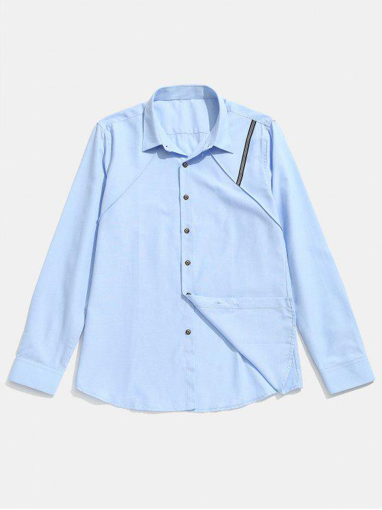 fashion Seam Detail Stripe Patched Shirt - LIGHT SKY BLUE XL