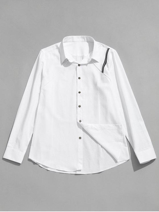 women Seam Detail Stripe Patched Shirt - WHITE S