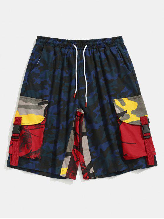 Kontrast Camouflage Patch Taschen Shorts - Marineblauer Tarnanstrich XS