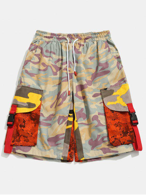 trendy Contrast Camouflage Patch Pockets Shorts - PINK S