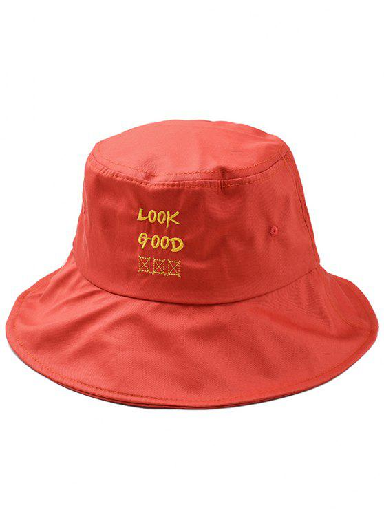 Fun Letter Embroidery Bucket Hat - Naranja