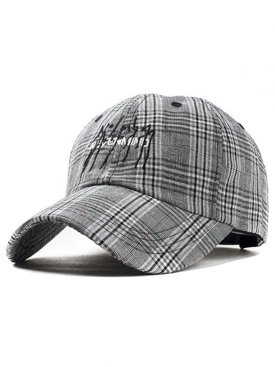 trendy Letter Embroidery Plaid Graphic Hat - BLACK