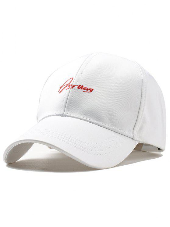Chapeau de Snapback Réglable Motif Inscription Brodée - Blanc