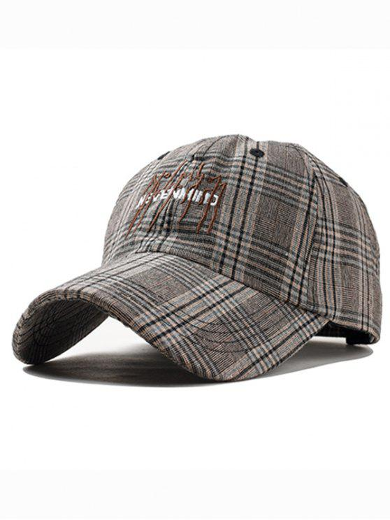 sale Letter Embroidery Plaid Graphic Hat - COFFEE