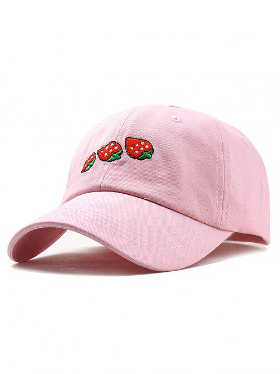 affordable Unique Strawberry Embroidery Baseball Hat - PINK