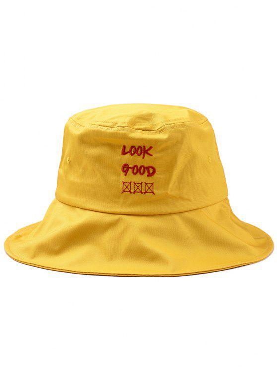 Spaß Brief Stickerei Bucket Hat - Sonne Gelb