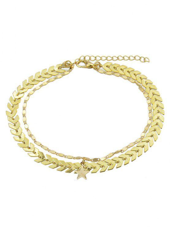 sale Double Layer Star Chain Anklet - GOLD