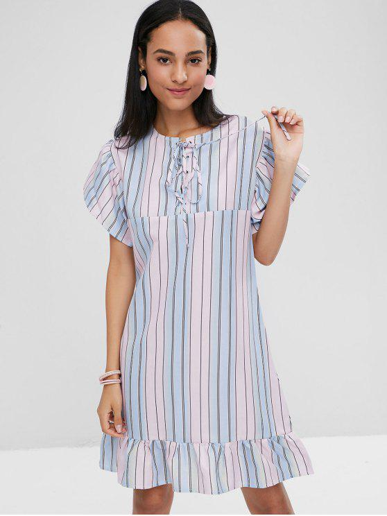 women Striped Lace Up Casual Dress - MULTI L