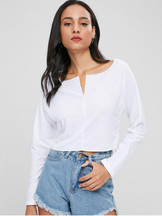 Cropped Ribbed Plain Top - Weiß M