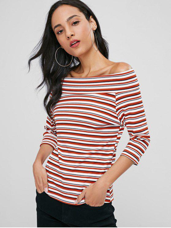 unique Stripe Off The Shoulder Top - CHESTNUT RED L