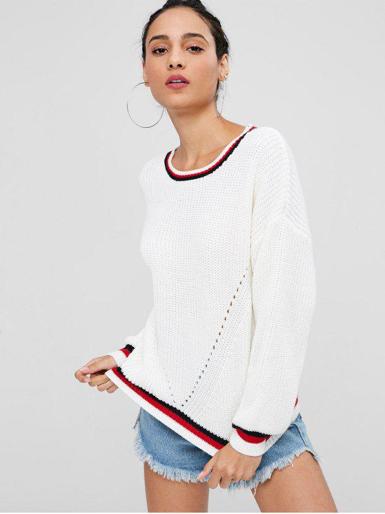 women's Contrast Stripe Chunky Sweater Jumper - WHITE S