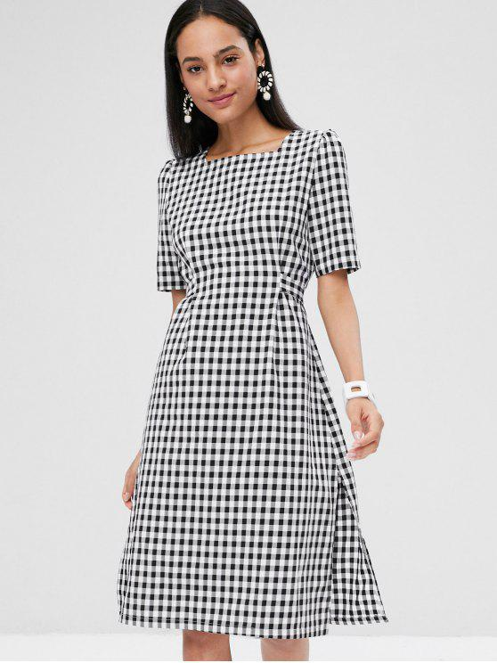 eed34c77438 25% OFF  2019 Checked Tie Knee Length Dress In WHITE