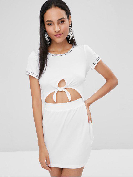 Robe Ajustée avec Découpe et Nouée - Blanc L
