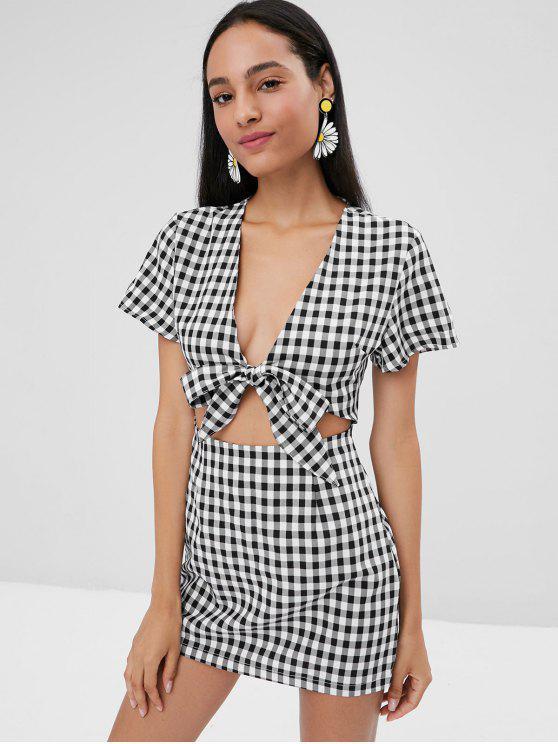 hot Tie Front Cut Out Plaid Dress - BLACK S