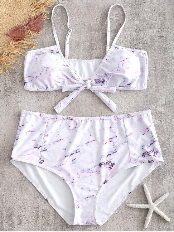 Set de Bikini de Mármol Anudado Plus Size - Blanco 2X