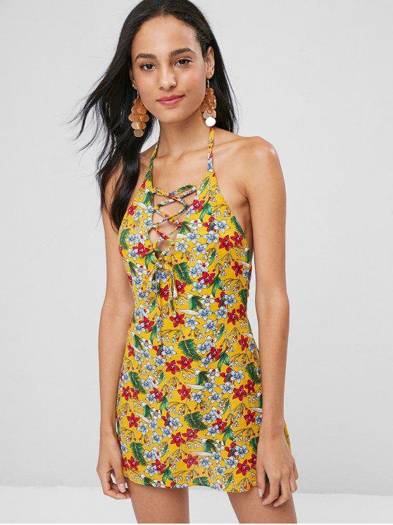 Mini vestido abierto con cordones - Marrón Dorado M