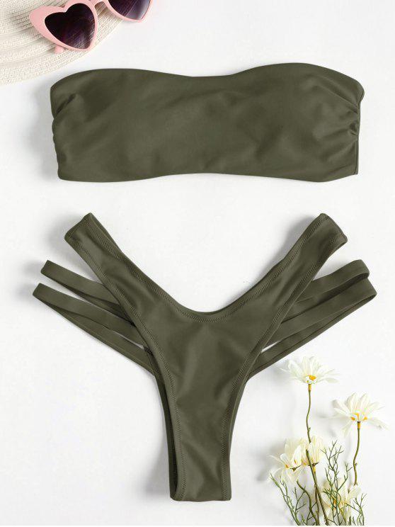 Conjunto de biquíni de bandeau de recorte - Verde L