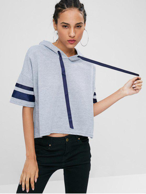 unique Striped Sleeve High Low Hoodie - GRAY CLOUD M