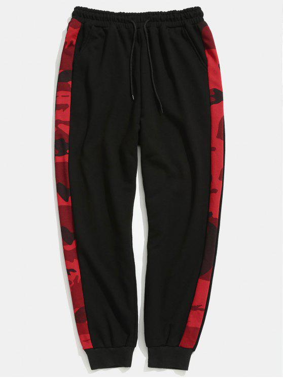 chic Side Camouflage Stripe Jogger Pants - BLACK M